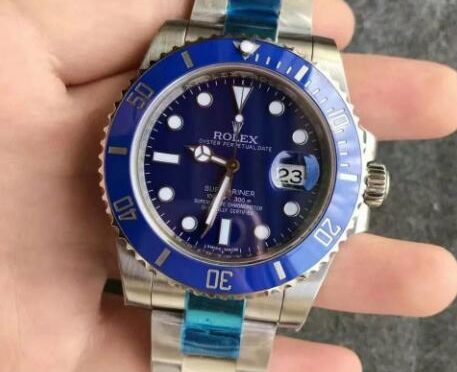 Replika Rolex Submariner Data 116619LB-97209 Niebieska Tarcza