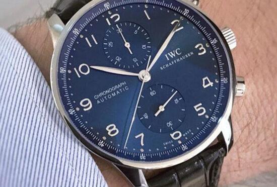 IWC Portugieser IW371491 Automatyczny Szwajcarski Replikowy Zegarek Z Chronografem Z Niebieską Tarczą