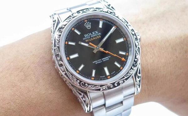 Rolex Milgauss Srebro Ręcznie Ręcznie Rzeźbiony Luksusowy Zegarek Repliki